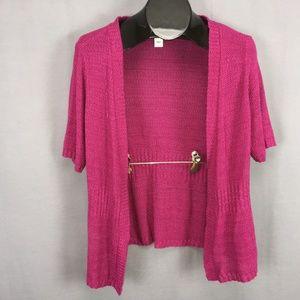 Christopher & Banks Cardigan Sweater Large Pink
